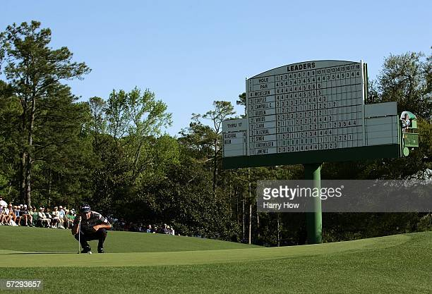 Jose Maria Olazabal of Spain lines up his putt on the 18th green during the final round of The Masters at the Augusta National Golf Club on April 9...