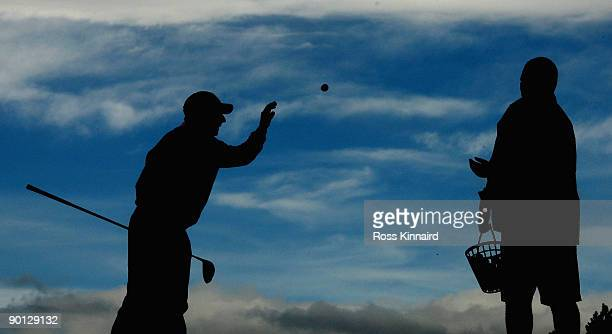 Jose Maria Olazabal of Spain on the practice ground after the second round of the Johnnie Walker Championship on the PGA Centenary Course at...