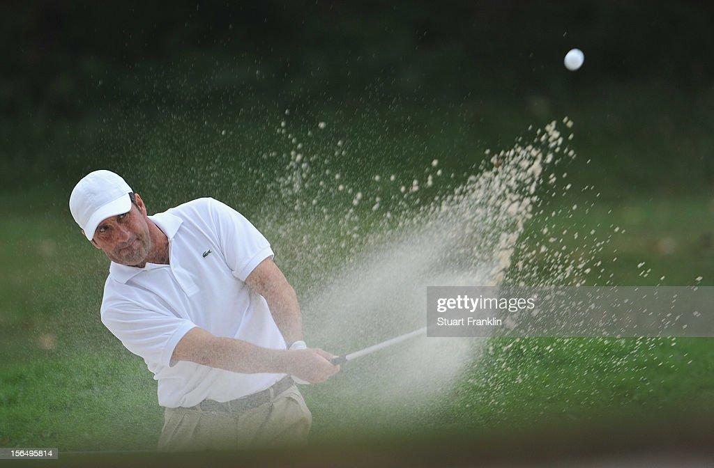 Jose Maria Olazabal of Spain plays a bunker shot during the second round of the UBS Hong Kong open at The Hong Kong Golf Club on November 16, 2012 in Hong Kong, Hong Kong.