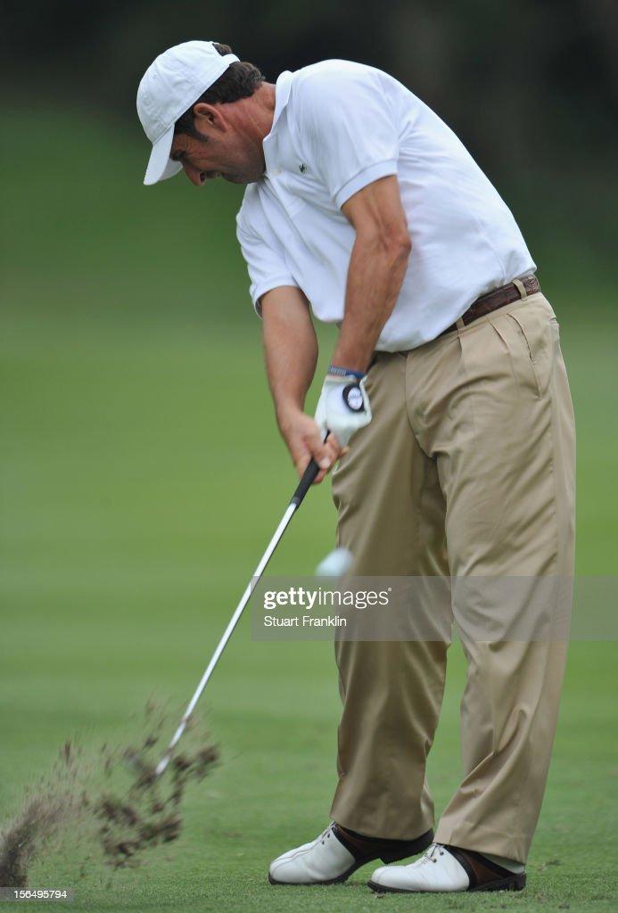Jose Maria Olazabal of Spain plays a shot during the second round of the UBS Hong Kong open at The Hong Kong Golf Club on November 16, 2012 in Hong Kong, Hong Kong.