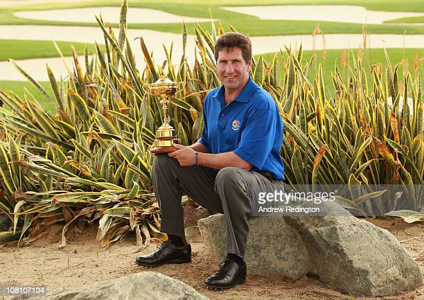 Jose Maria Olazabal of Spain poses with The Ryder Cup trophy after being named Europe's 2012 captain during a Ryder Cup Press Conference at the 2011...