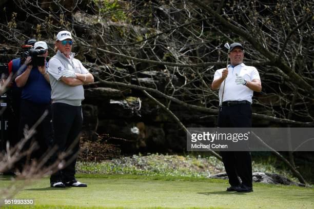 Jose Maria Olazabal of Spain reacts to his shot as Miguel Angel Jimenez of Spain looks on during the final round of the PGA TOUR Champions Bass Pro...
