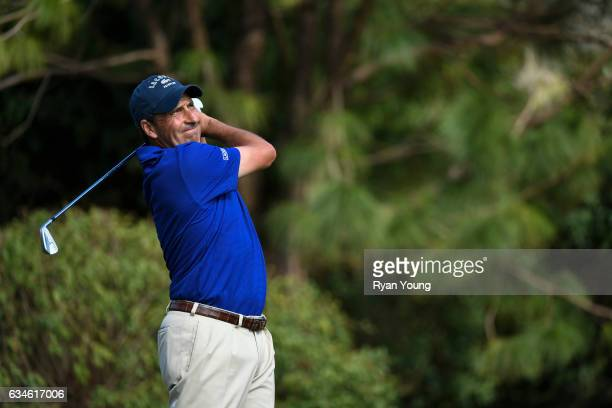 Jose Maria Olazabal tees off on the 16th hole during the first round of the PGA TOUR Champions Allianz Championship at The Old Course at Broken Sound...