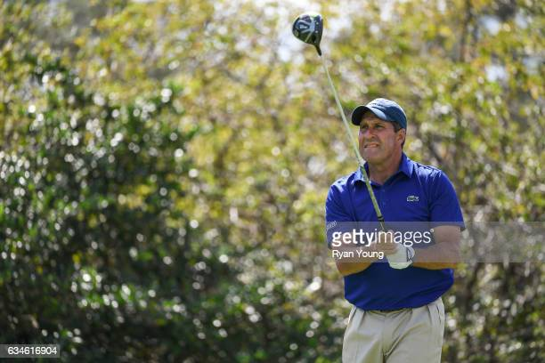 Jose Maria Olazabal tees off on the ninth hole during the first round of the PGA TOUR Champions Allianz Championship at The Old Course at Broken...