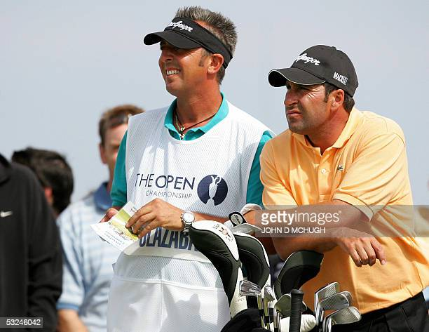 Jose Maria Olazabel waits to drive off of the 5th tee during the third round of the 134th Open Championship on the Old Course in St. Andrews,...