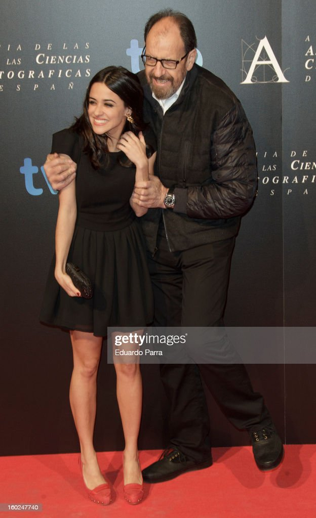 Jose Maria Pou and Macarena Garcia attend Goya awards final candidates party photocall at El Canal theatre on January 28, 2013 in Madrid, Spain.