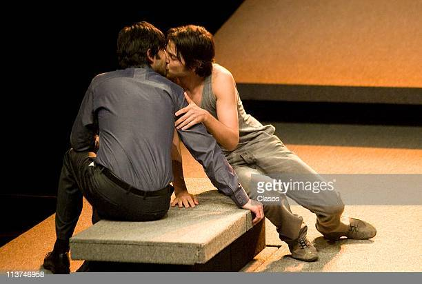 Jose Maria Yazpik and Diego Luna during a presentation of the theater play Cock at Teatro Insurgentes on May 4 2011 in Mexico City Mexico