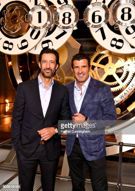 Jose Maria Yazpik and Luis Figo visit the IWC booth during the Maison's launch of its Jubilee Collection at the Salon International de la Haute...