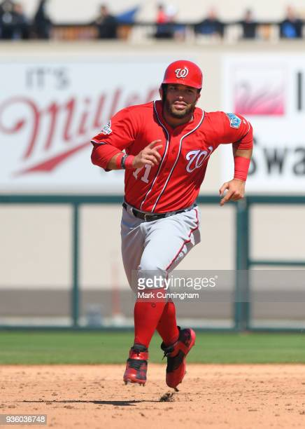 Jose Marmolejos of the Washington Nationals runs the bases during the Spring Training game against the Detroit Tigers at Publix Field at Joker...