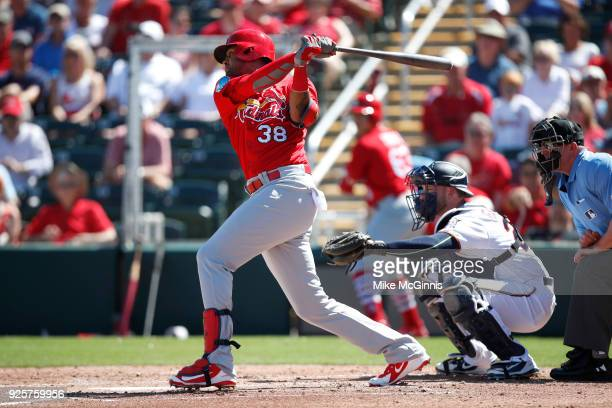 Jose Martinesz of the St Louis Cardinals in action during the the Spring Training game against the Minnesota Twins at Hammond Stadium on February 26...