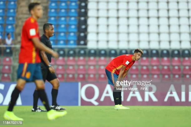 Jose Martinez of Spain reacts after an own goal for Tajikistan during the FIFA U17 World Cup Brazil 2019 group E match between Spain and Tajikistan...