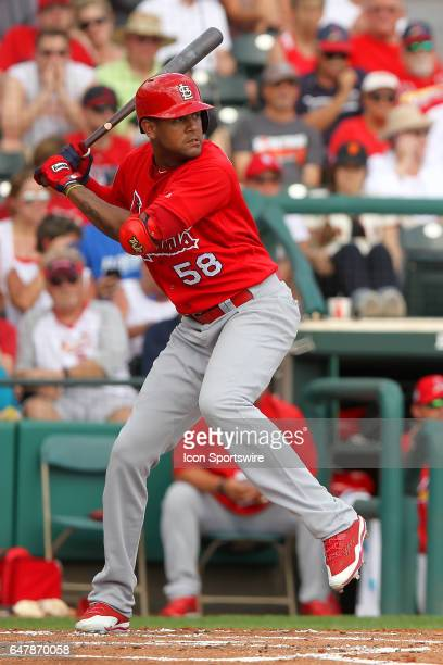 Jose Martinez of the Cardinals at bat during the spring training game between the St Louis Cardinals and the Atlanta Braves on February 28 2017 at...