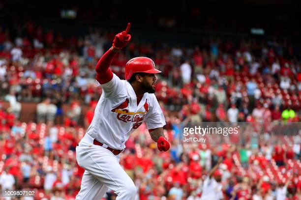 Jose Martinez of the St Louis Cardinals celebrates after hitting a walk off tworun single during the ninth inning against the Colorado Rockies at...
