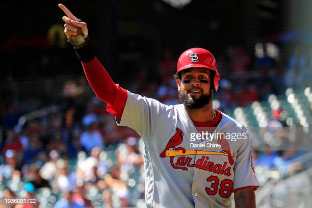 Jose Martinez of the St Louis Cardinals celebrates scoring a run during the sixth inning against the Atlanta Braves at SunTrust Park on September 19...