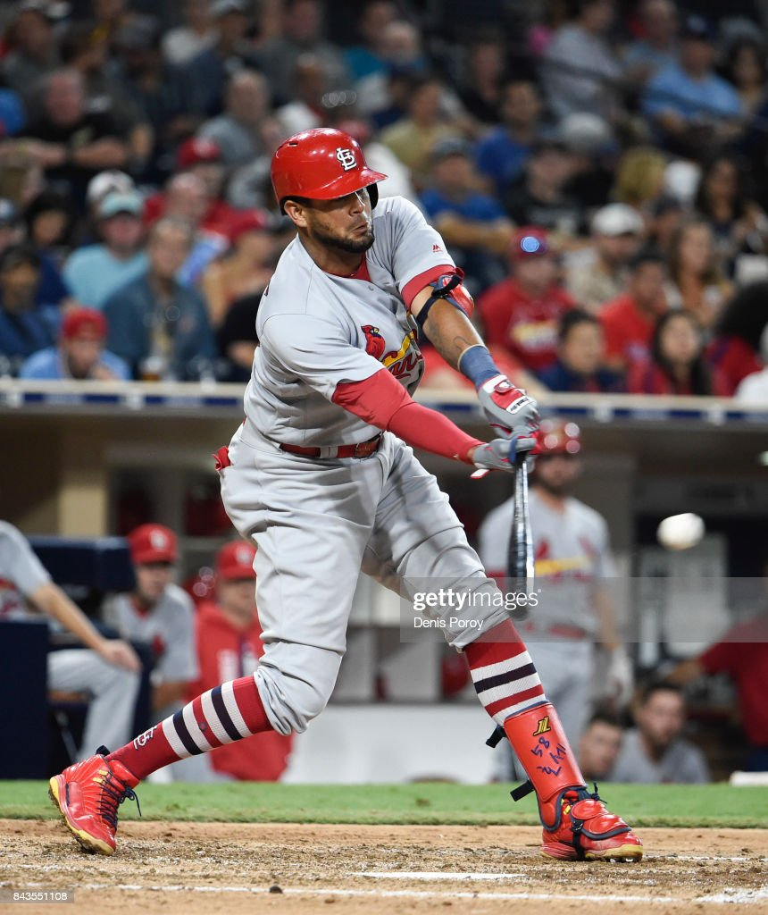 Jose Martinez #58 of the St. Louis Cardinals hits a a single during the seventh inning of a baseball game against the San Diego Padres at PETCO Park on September 6, 2017 in San Diego, California.