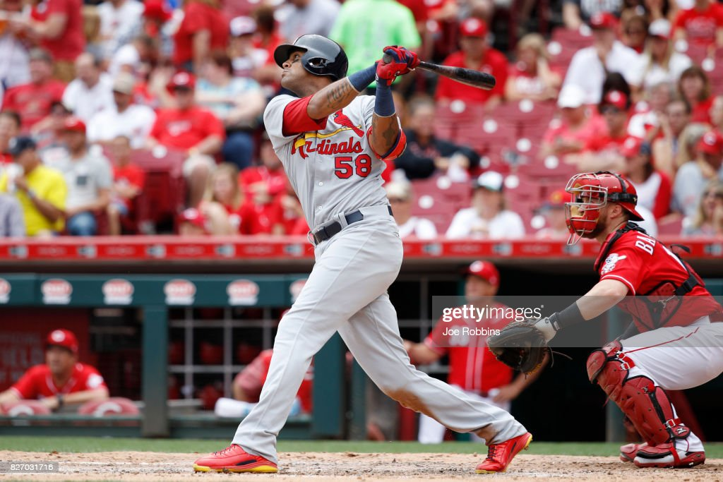 Jose Martinez #58 of the St. Louis Cardinals hits a grand slam home run in the fourth inning of a game against the Cincinnati Reds at Great American Ball Park on August 6, 2017 in Cincinnati, Ohio.