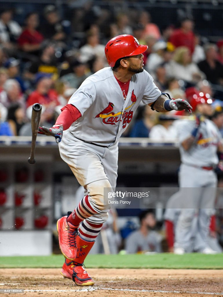 Jose Martinez #58 of the St. Louis Cardinals hits a solo home run during the seventh inning of a baseball game against the San Diego Padres at PETCO Park on September 5, 2017 in San Diego, California.