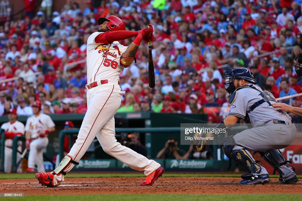 Jose Martinez #58 of the St. Louis Cardinals hits a two-run ground-rouse double against the Milwaukee Brewers in the third inning at Busch Stadium on September 30, 2017 in St. Louis, Missouri.