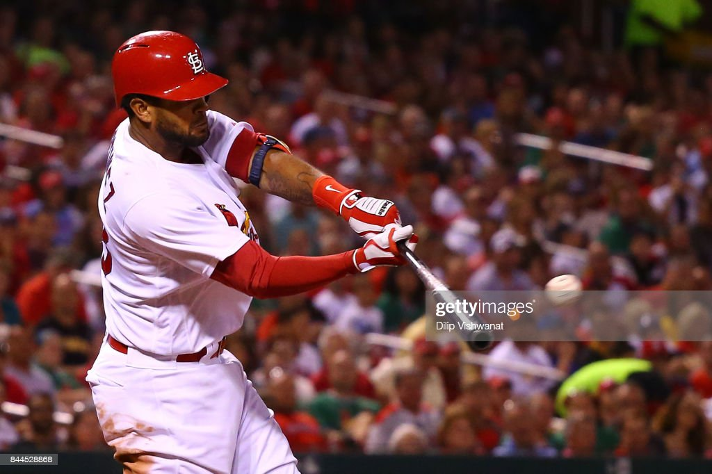 Jose Martinez #58 of the St. Louis Cardinals hits a two-run single against the Pittsburgh Pirates in the fifth inning at Busch Stadium on September 8, 2017 in St. Louis, Missouri.