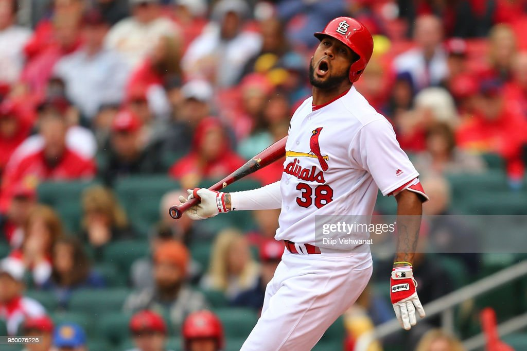 Jose Martinez #38 of the St. Louis Cardinals reacts after almost getting hit by a pitch against the Cincinnati Reds in the seventh inning at Busch Stadium on April 22, 2018 in St. Louis, Missouri.
