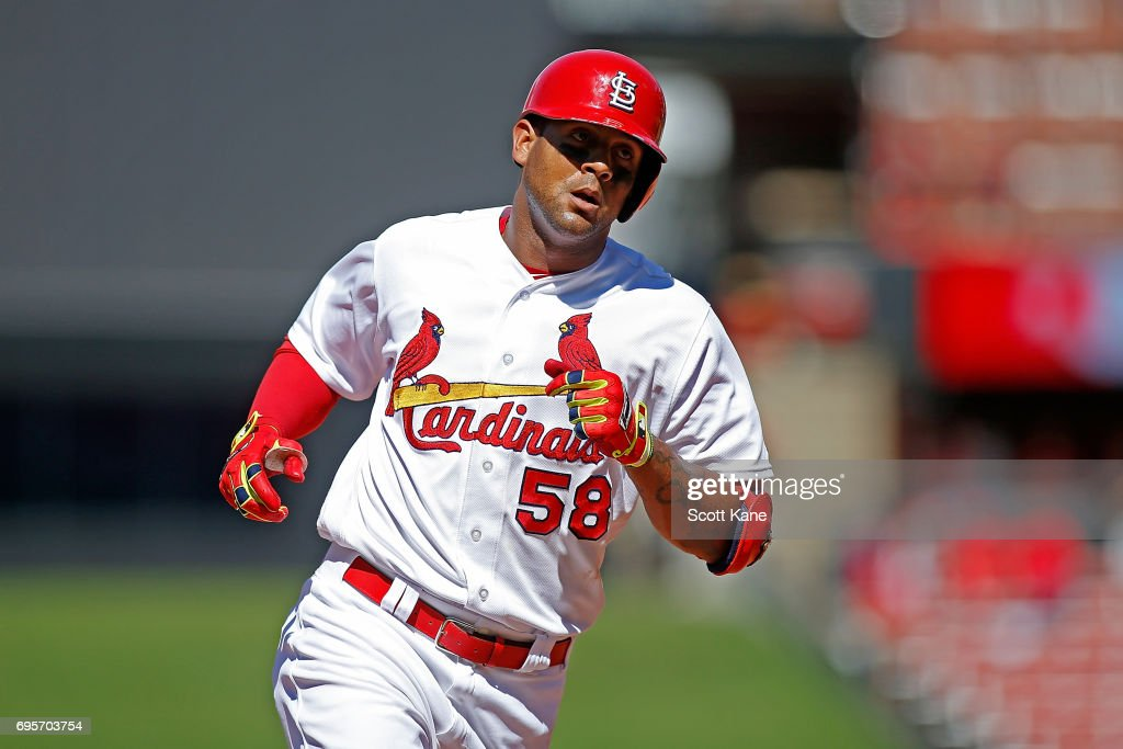 Jose Martinez #58 of the St. Louis Cardinals runs the bases after hitting a solo home run during the eighth inning against the Milwaukee Brewers at Busch Stadium on June 13, 2017 in St. Louis, Missouri.