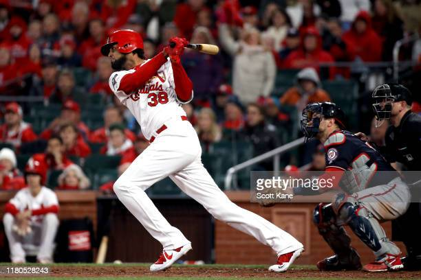 Jose Martinez of the St. Louis Cardinals singles against the Washington Nationals for the teams first base hit of the game during the eighth inning...