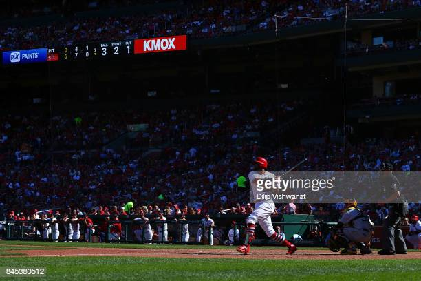 Jose Martinez of the St Louis Cardinals singles against the Pittsburgh Pirates in the seventh inning at Busch Stadium on September 10 2017 in St...