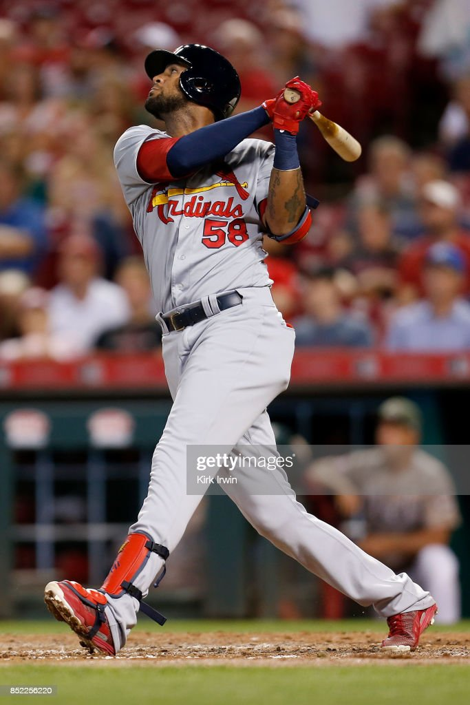 Jose Martinez #58 of the St. Louis Cardinals takes an at bat during the game against the Cincinnati Reds at Great American Ball Park on September 19, 2017 in Cincinnati, Ohio.