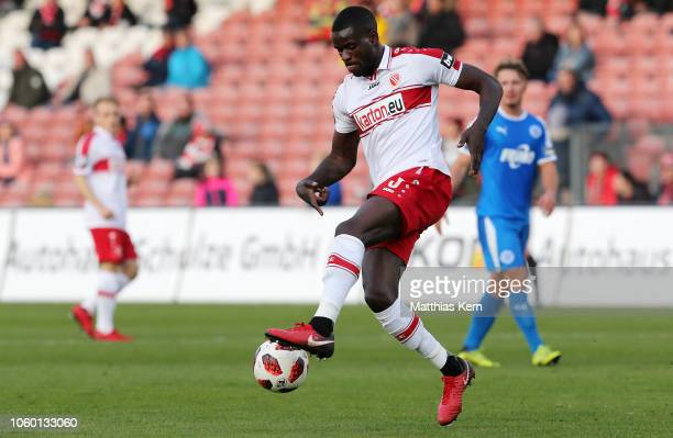 Jose Matuwila of Cottbus runs with the ball during the 3. Liga match between FC Energie Cottbus and VfL Sportfreunde Lotte at Stadion der...