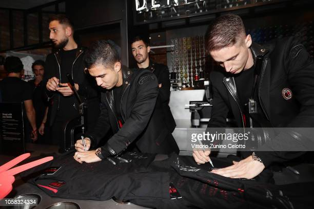 Jose Mauri and Andrea Conti attend Diesel Presents The AC Milan Special Collection on November 6 2018 in Milan Italy