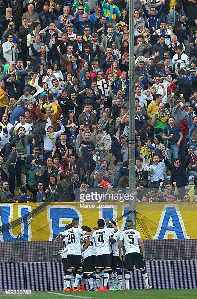 Jose Mauri of Parma FC celebrates with his teammates after scoring the opening goal during the Serie A match between Parma FC and Juventus FC at...