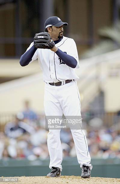 Jose Mesa of the Detroit Tigers lines up the pitch during a Spring Training game against the Cleveland Indians on March 32007 at Joker Marchant...