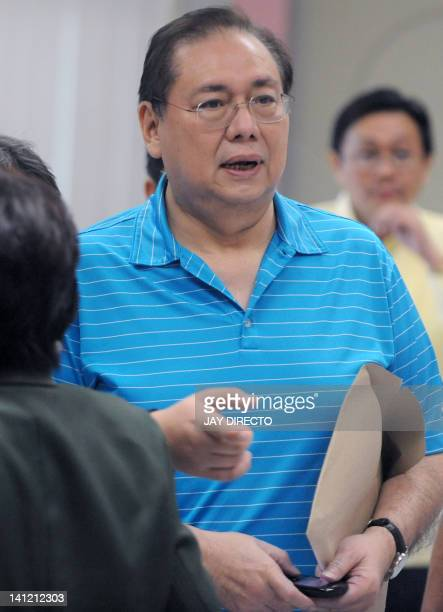 Jose Miguel Arroyo husband of grafttainted former president Gloria Arroyo posts bail at the Sandiganbayan special anti graft court on March 13 2012...