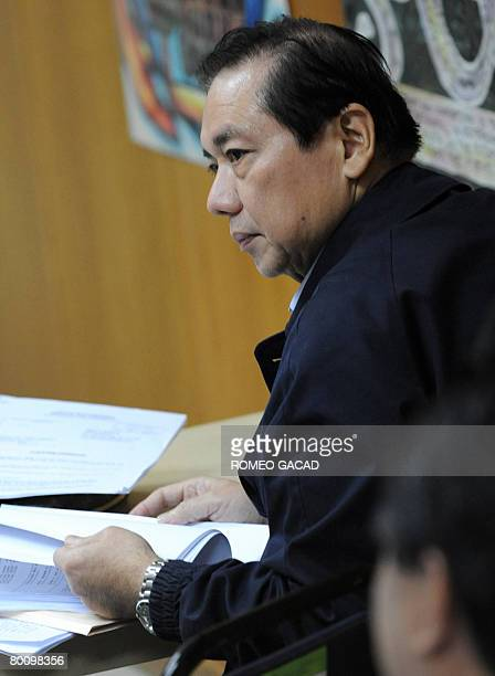 Jose Miguel Arroyo husband of President Gloria Arroyo appears before the Philippine government inquiry by the Office of the Ombudsman in Manila on...