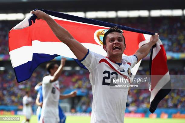 Jose Miguel Cubero of Costa Rica celebrates after defeating Italy 1-0 during the 2014 FIFA World Cup Brazil Group D match between Italy and Costa...
