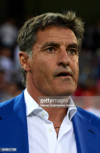 Jose Miguel Gonzalez Michel Manager of Malaga CF reacts prior to the La Liga match between Valencia and Malaga at Estadio Mestalla on September 19...