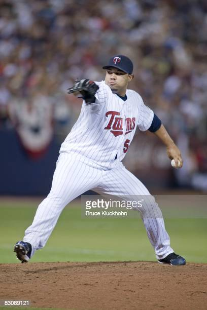 Jose Mijares of the Minnesota Twins pitches to the Kansas City Royals at the Humphrey Metrodome in Minneapolis Minnesota on September 28 2008 The...