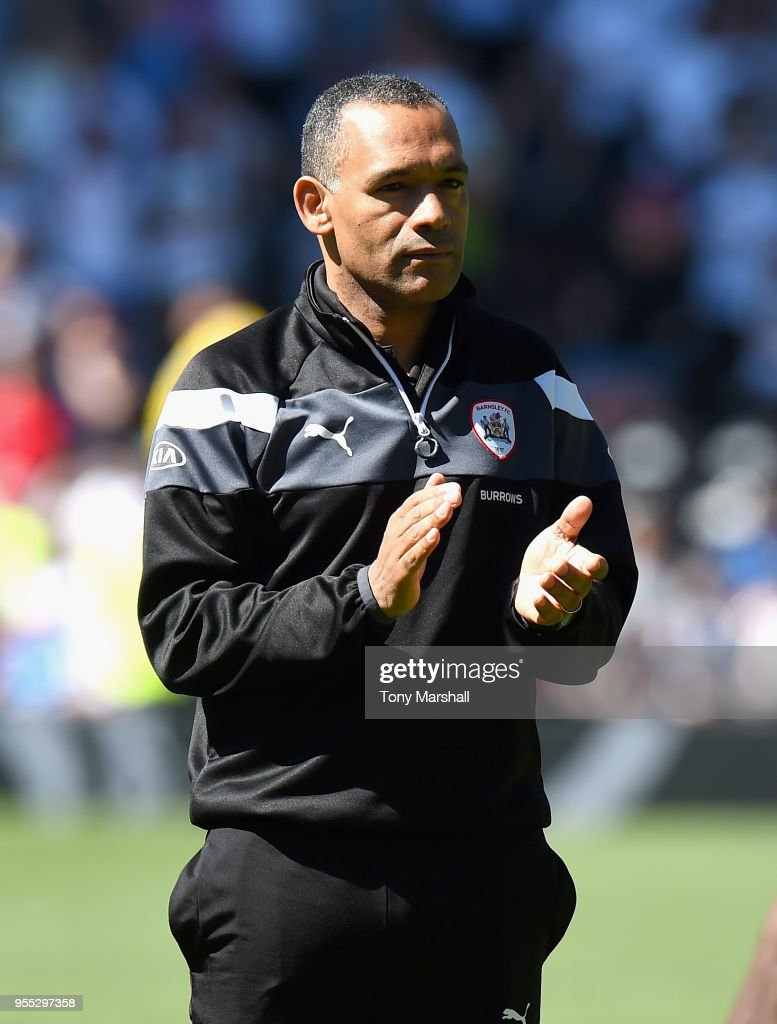 Jose Morais, Manager of Barnsley applauds the fans as Barnsley are relegated during the Sky Bet Championship match between Derby County and Barnsley at iPro Stadium on May 6, 2018 in Derby, England.