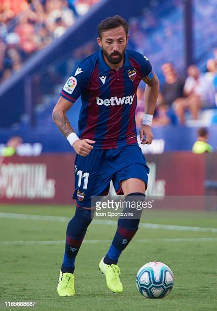 Jose Morales, forward of Levante UD with the ball during the La Liga match between Levante UD and Real Valladolid CF at Ciutat de Valencia stadium on...