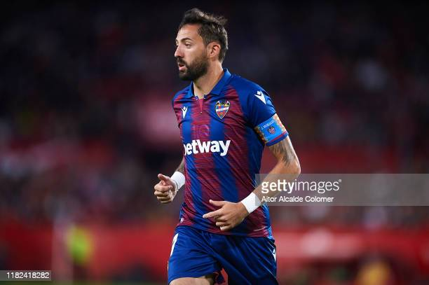 Jose Morales of Levante UD looks on during the Liga match between Sevilla FC and Levante UD at Estadio Ramon Sanchez Pizjuan on October 20, 2019 in...