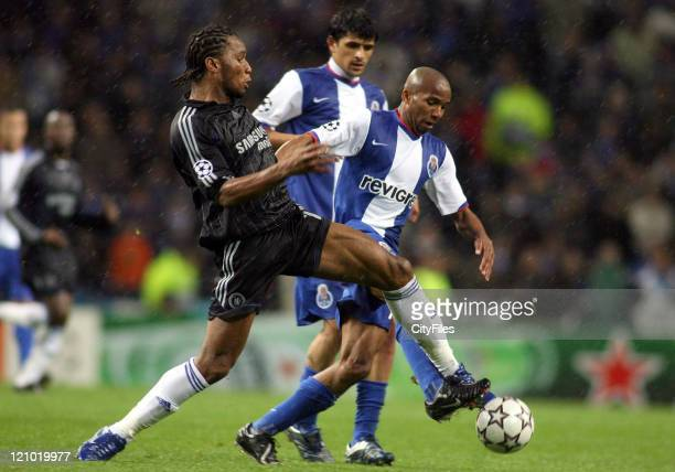 Jose Morinho and Drogba and Bosingwa during a UEFA Champions League First Leg match between Chelsea and FC Porto in Oporto Portugal on February 21...