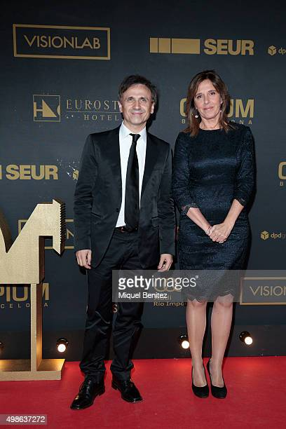Jose Mota and Ana Blanco pose during a photocall the 62st Ondas Awards 2015 at CCIB Cente Convencions Internacional Barcelona on November 24 2015 in...
