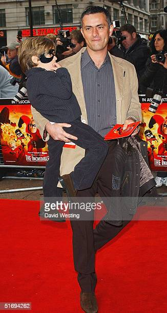 Jose Mourinho and one of his children arrive at the UK Premiere of the new Disney/Pixar animation 'The Incredibles' at the Empire Leicester Square on...