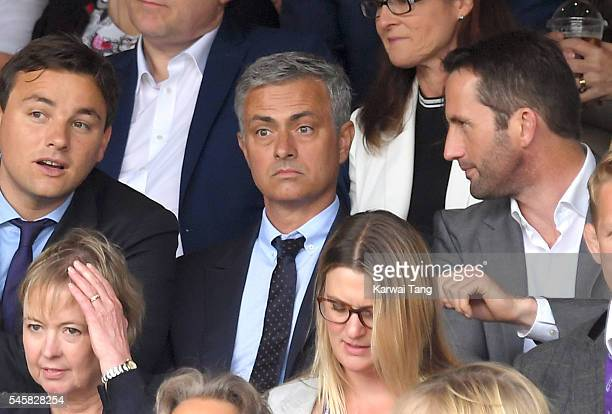 Jose Mourinho attends the Men's Final of the Wimbledon Tennis Championships between Milos Raonic and Andy Murray at Wimbledon on July 10 2016 in...