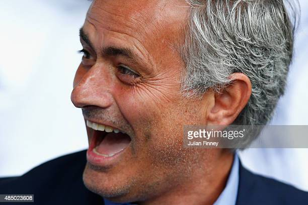 Jose Mourinho Chelsea manager is seen during the Barclays Premier League match between West Bromwich Albion and Chelsea at the Hawthorns on August 23...