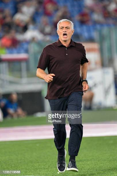 Jose Mourinho coach of AS Roma in action during the Italian Football Championship League A 2021/2022 match between AS Roma vs US Sassuolo at the...