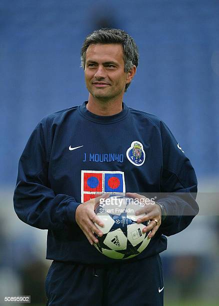 Jose Mourinho Coach of FC Porto during training before The UEFA Champions League Final at The Arena Auf Schalke on May 25 2004 in Gelsenkirchen...