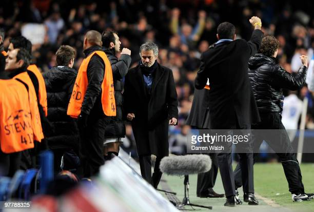 Jose Mourinho Coach of Inter Milan celebrates the goal scored by Samuel Eto'o of Inter Milan during the UEFA Champions League Round of 16 second leg...
