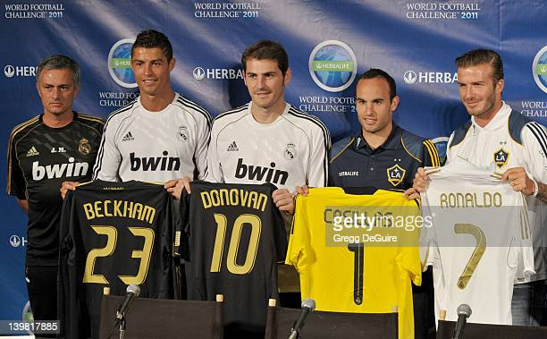 Jose Mourinho Cristiano Ronaldo Iker Casillas Landon Donovan and David Beckham pose at the Herbalife World Football Challenge Superstar Press...