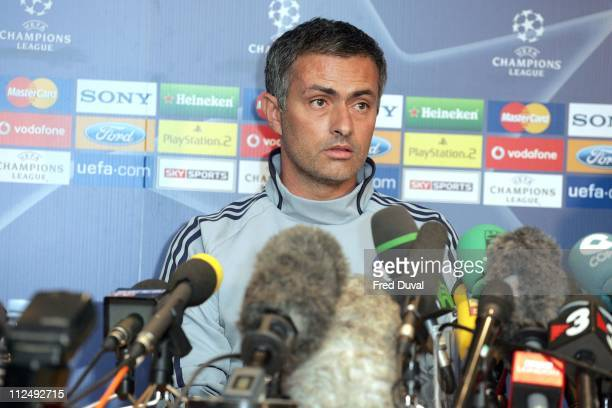 Jose Mourinho during Chelsea vs Barcelona UEFA Press Conference October 17 2006 at Stamford Bridge in London Great Britain